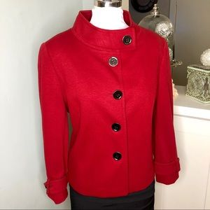 Tahari Red Blazer Jacket Button Up High Neck